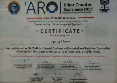 Certificate By AROI Association of Radiation Oncologist of India