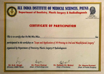 Certificate for Workshop on Scope and Application of 3D Printing in Oral and Maxillofacial surgery