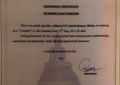 Certificate of work as Lecturer